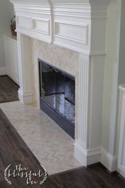 Fireplace Mantel and Tile Face