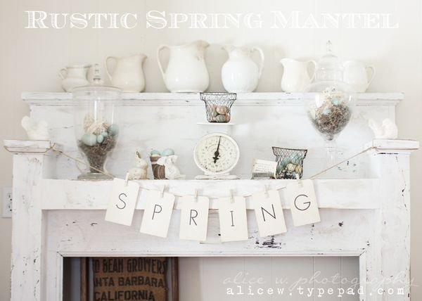 Rustic Spring Mantel