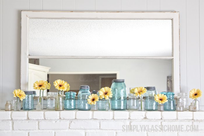 Sweet and Simple Spring Mantel