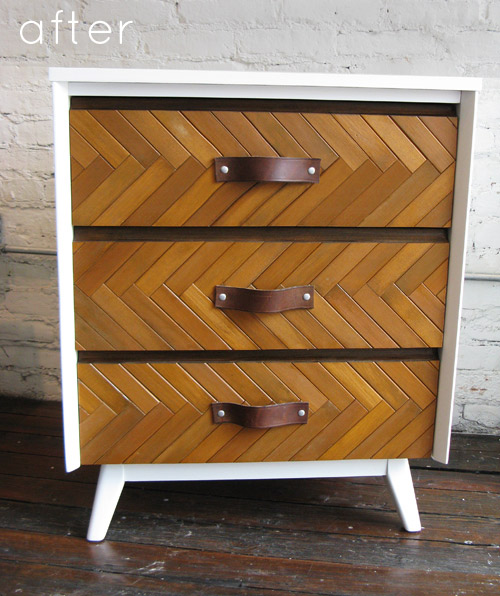 Wood Slat Herringbone Drawer Fronts on a Dresser