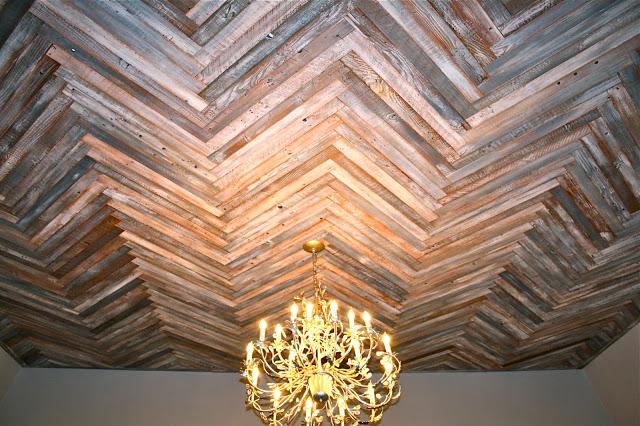 Reclaimed Wood Herringbone Ceiling