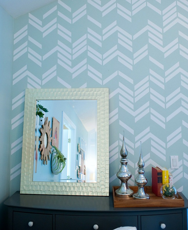 Scattered Herringbone Accent Wall Using A Vinyl Decal