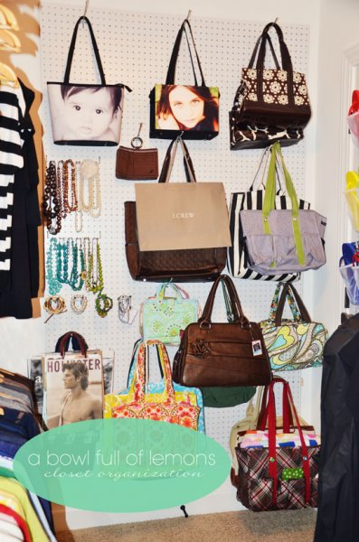 Pegboard wall to organize purses, belts, and accessories
