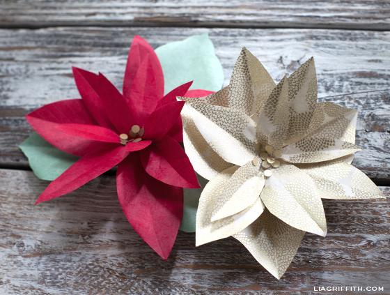 DIY Paper Poinsettias
