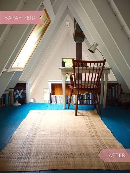 Home Office Loft with Blue Floors