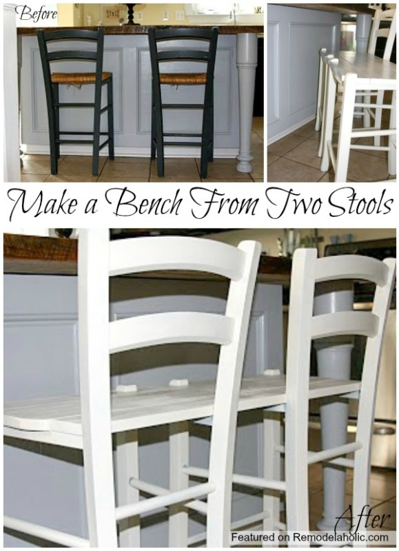 Tutorial How to Make a bench from two stools featured on remodelaholic #chair #stools #bench