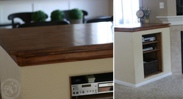 fireplace makeover media cubbies
