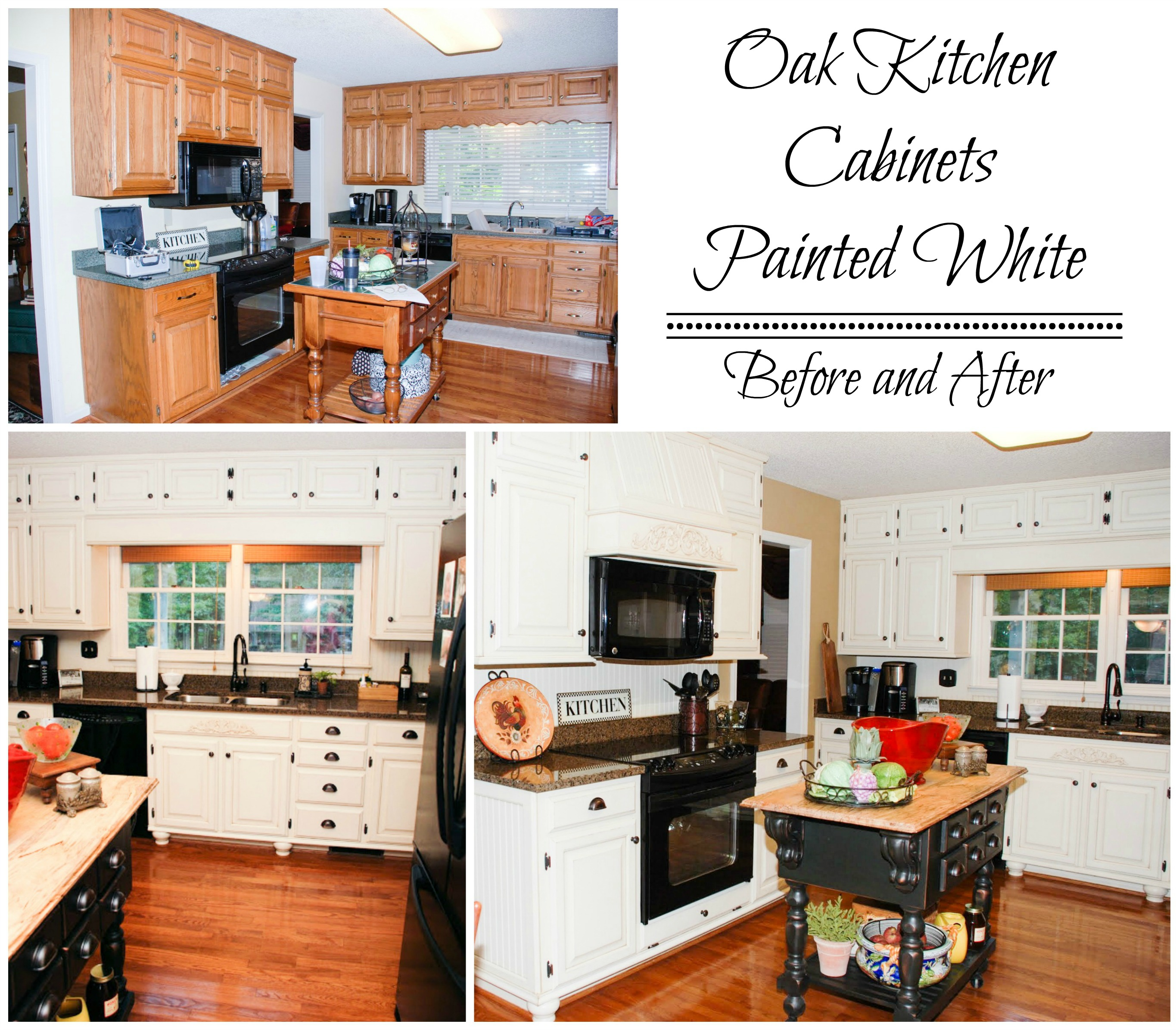 Genial Painted White Oak Cabinets Before And After