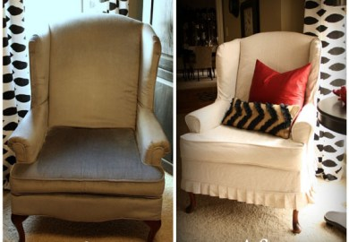 Wingback Chair Slipcover Tutorial