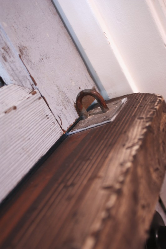 15 Rustic hardware for remodeling an old door into a dutch door with glass panels by Its the Little Things featured on @Remodelaholic