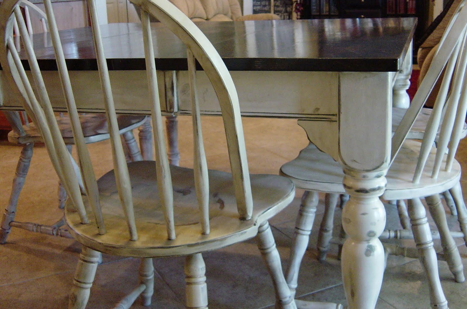diy painted windsor chairs ikea desk remodelaholic kitchen table refinished with distressed look