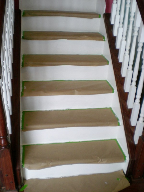 22 Cheap Staircase DIY, Carpet To Wood Treads, By Cleverly Inspired, Featured On @Remodelaholic