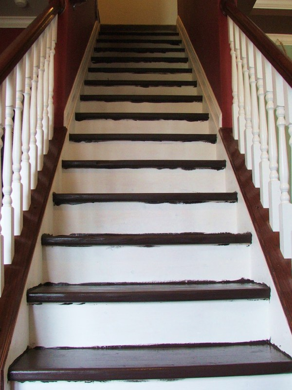 27 Stairway Makoever On A Tiny Budget, A DIY Tutorial, By Cleverly Inspired, Featured On @Remodelaholic
