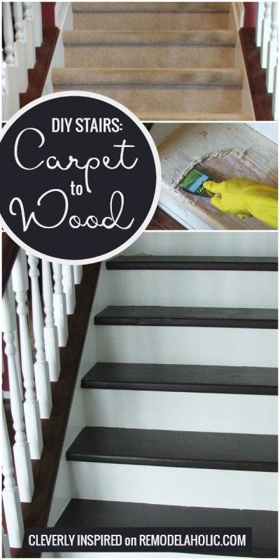 Change Your Stairs From Carpet To Wooden Treads With This Tutorial, By Cleverly Inspired Featured On @Remodelaholic