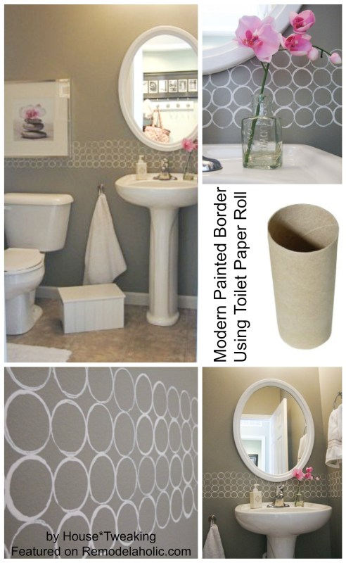 Modern Painted Border using Toilet Paper Roll stencil
