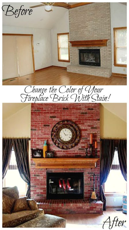 Change the color of your fireplace brick with stain