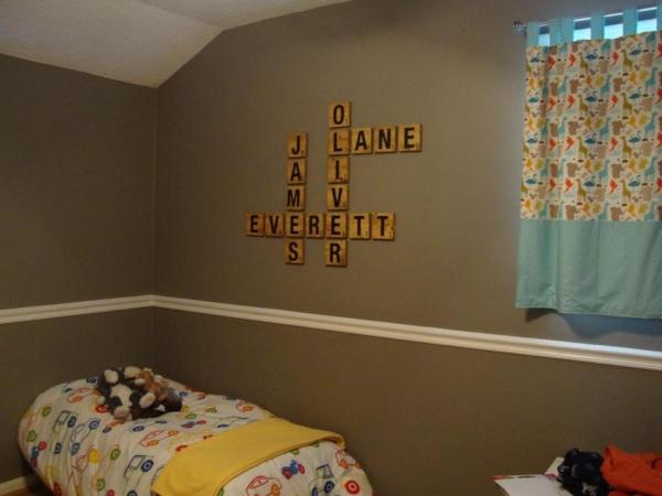DIY scrabble letter tiles kids room wall names OhThe Hubanity