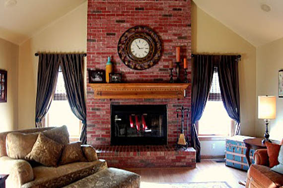 Remodelaholic  Update the Color of your Brick Stained Brick Fireplace