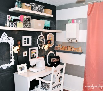 Renovated Home Office with Stripes and Lots of Details