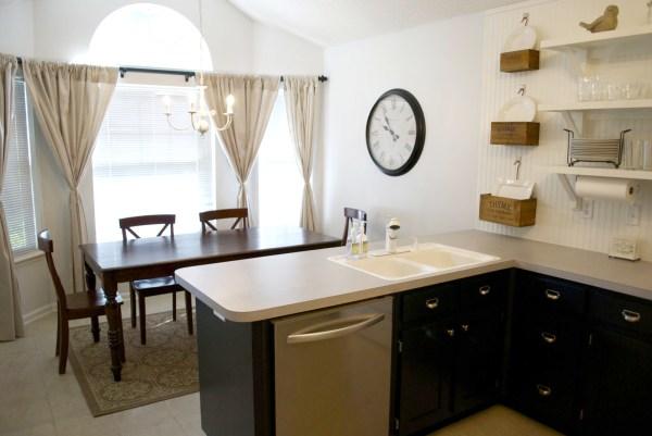kitchen remodel black base cabinets bead baord backsplash open shelves dining room makeover (12)