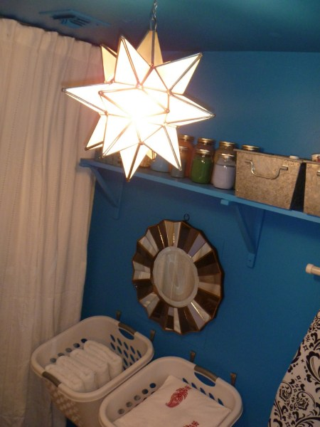 Beautiful Blue Laundry Room Makeover Laundry storage (6)
