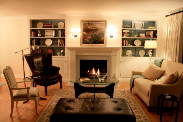 Living Room Remodel, Adding a Fireplace and Built in Bookshelves (15)