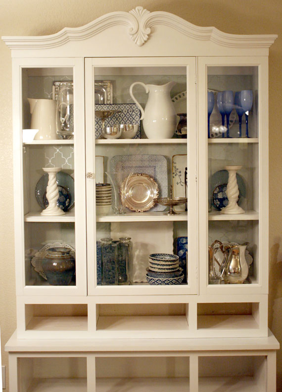 DIY Redo Of Dish Display Case, Wooden To White, By @Remodelaholic