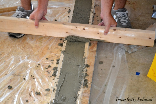 How To Build Your Own Kitchen Countertops And Molding Using Concrete, By Imperfectly Polished Featured On @Remodelaholic