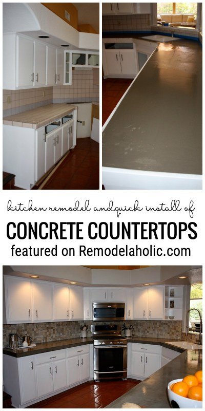 Change Up Your Kitchen With A Quick Install Of Concrete Countertops Featured On Remodelaholic.com