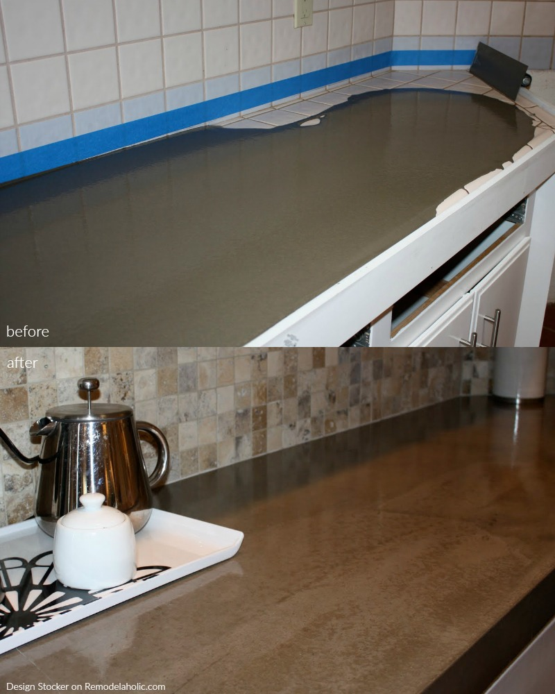 Remodelaholic Quick Install Of Concrete Countertops Kitchen Remodel - Cover old tile countertops