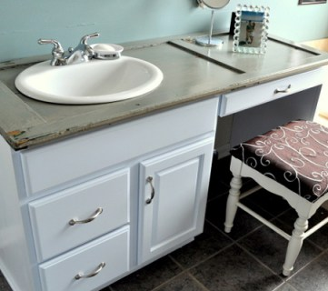 Repurposing an Old Shutter Into a Bathroom Counter