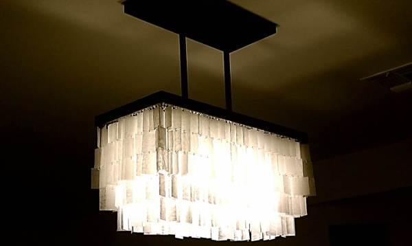 diy faux capiz chandelier 34