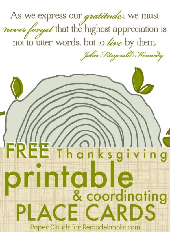 Free Thanksgiving Printable Art and Place Cards @Remodelaholic #free #printable #thanksgiving