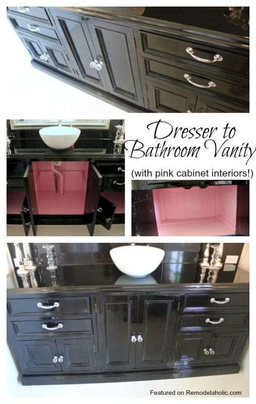 Dresser to Bathroom Vanity with pink cabinet interiors