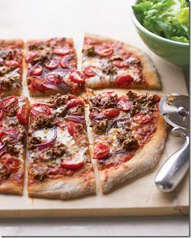 Hamburger and grape tomatoe pizza by martha