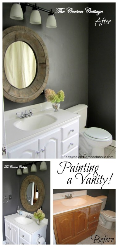 Painting a Vanity Bathroom Makeover featured on Remodelaholic