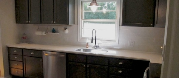 budget kitchen remodel fauct remodelaholic | charcoal grey cabinets