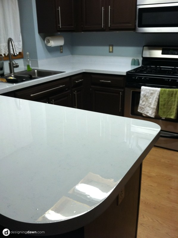 Remodelaholic Glossy Painted Kitchen Counter Top Tutorial - How to redo kitchen countertops