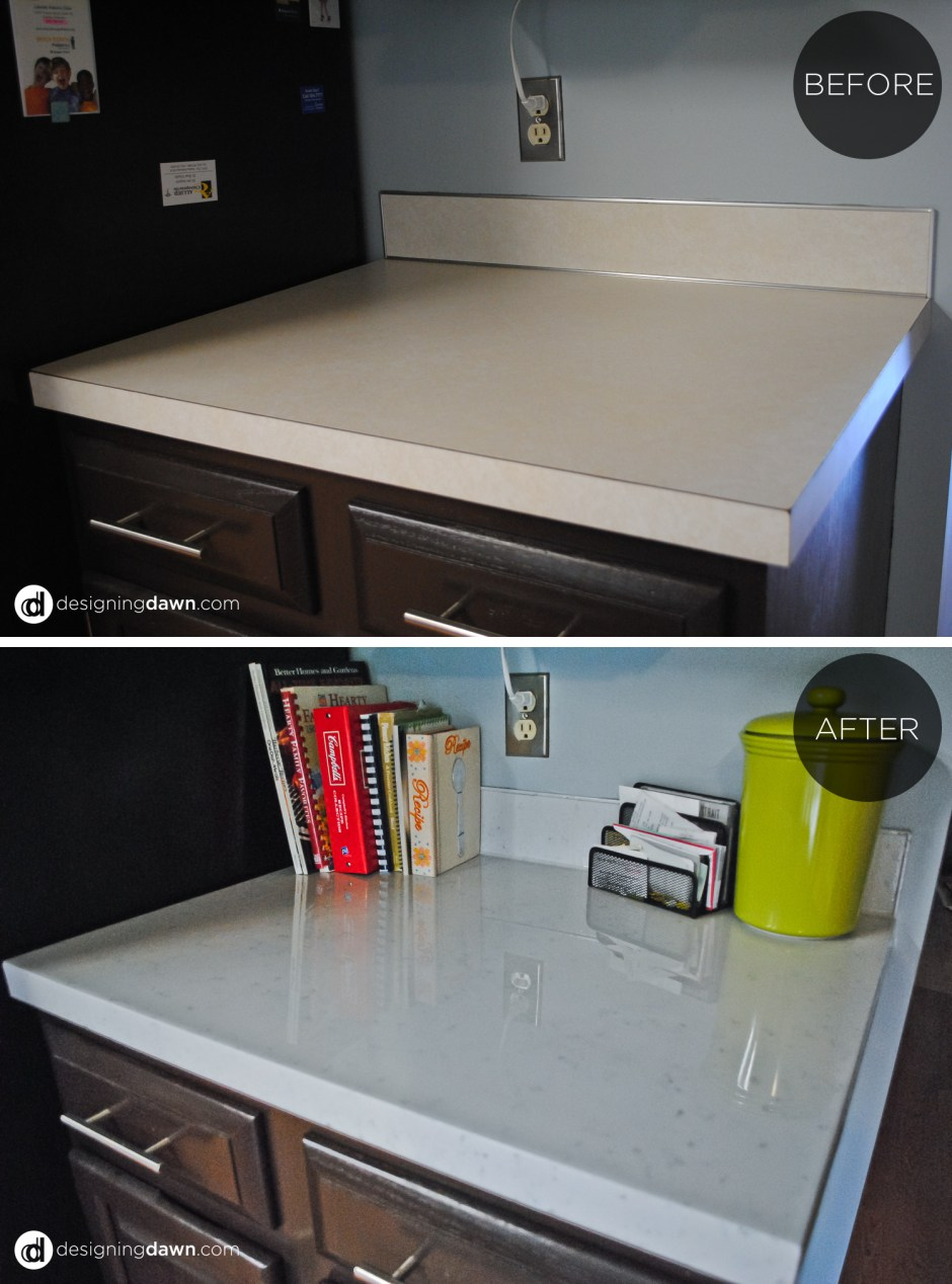 13 Painted Kitchen Countertops Tutorial By AD Aesthetic Featured On Remodelaholic & Remodelaholic | Glossy Painted Kitchen Counter Top Tutorial
