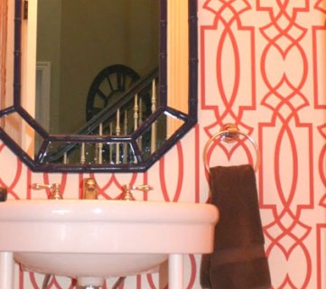 Coral Trellis Wallpaper Powder Room