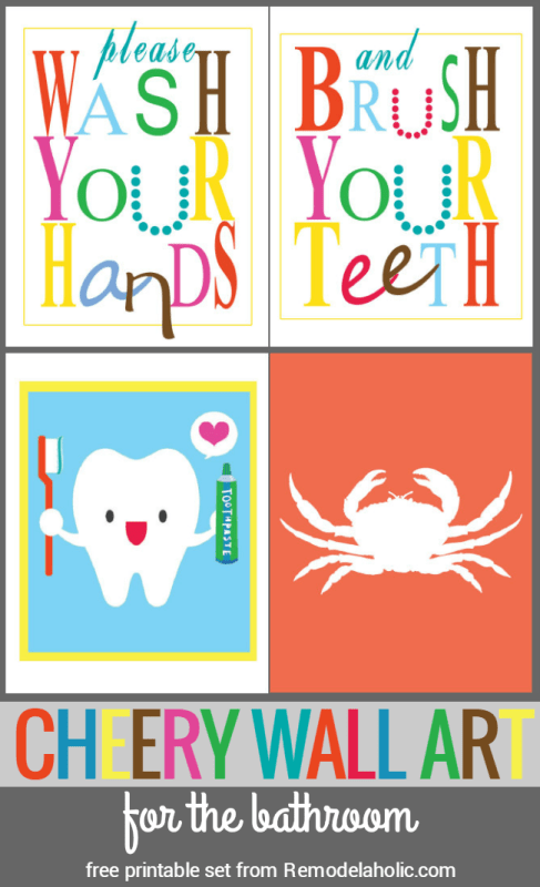 Please wash your hands and brush your teeth! Plus a cute tooth print and a crab silhouette for easy wall art. Free printable set of cheery wall art for a kids bathroom from Remodelaholic.com.