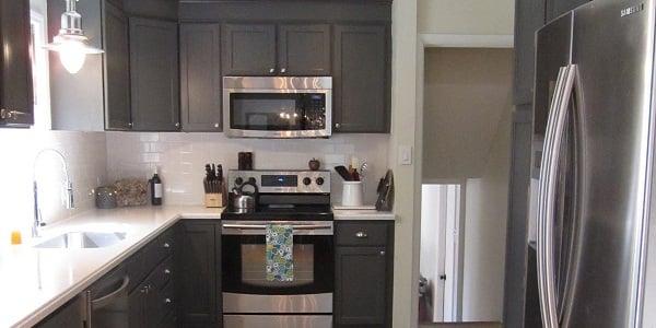 kitchen redo desing remodelaholic with dark gray cabinets white subway tile