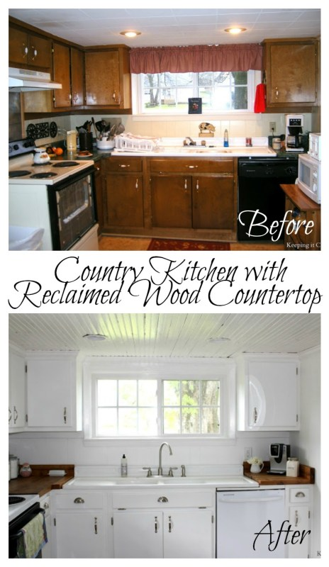 Country Kitchen with Reclaimed Wood Countertop