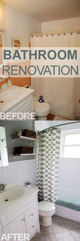 Remodelaholic | Bathroom Redo: Grouted Peel and Stick Floor Tiles