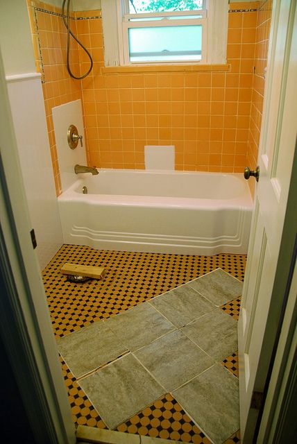 Remodelaholic | Bathroom Redo: Grouted Peel and Stick Floor Tiles