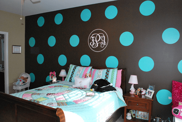 Polka Dot Walls Tween Bedroom Blue Brown Tan