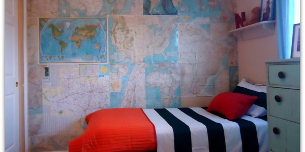 Boys Bedroom With Maps on Walls via Remodelaholic.com