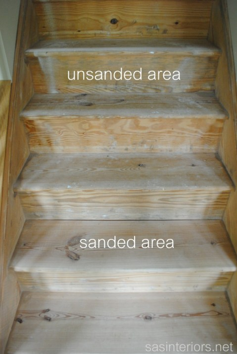 carpeted stairs to wood sanding the wood