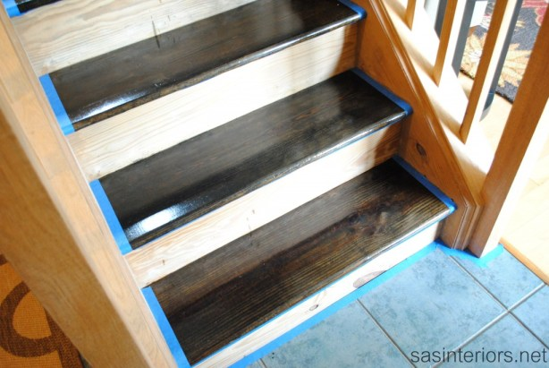 diy stair treads staining wood stairs