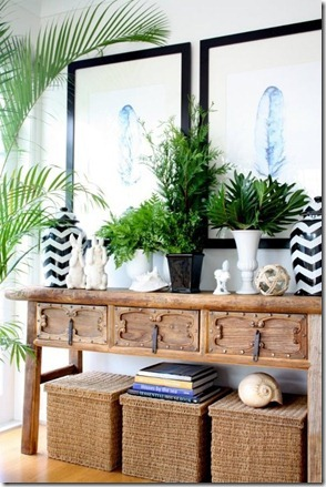 Designer inspired entry table decor